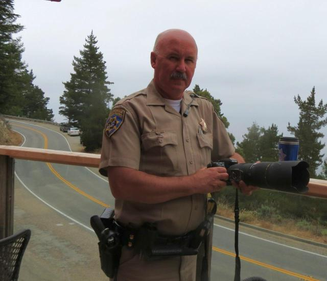 CHP Officer Ben Grasmuck at the big Sur Coast Gallery & Café
