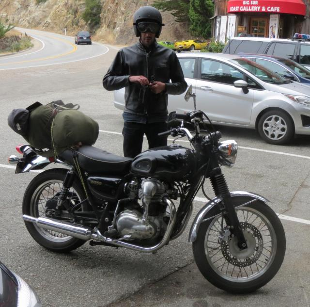 Motorcyclist at Big Sur Coast Gallery & Café